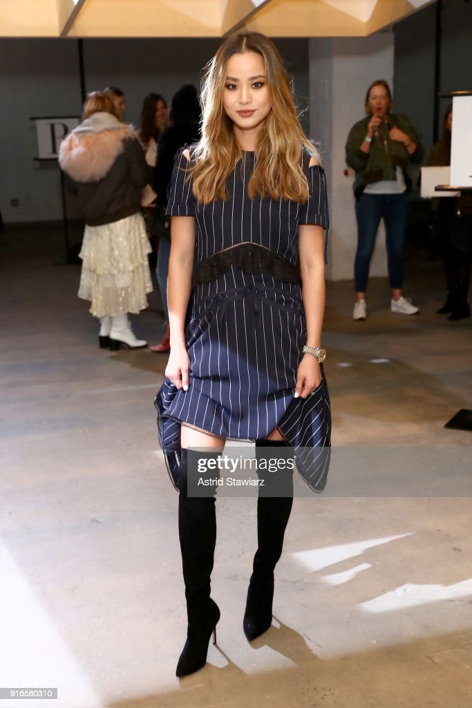 Jamie Chung attends the Self-Portrait Fall Winter 2018 -Front Row - New York Fashion Week at SIR Stage37 on February 10, 2018 in New York City.