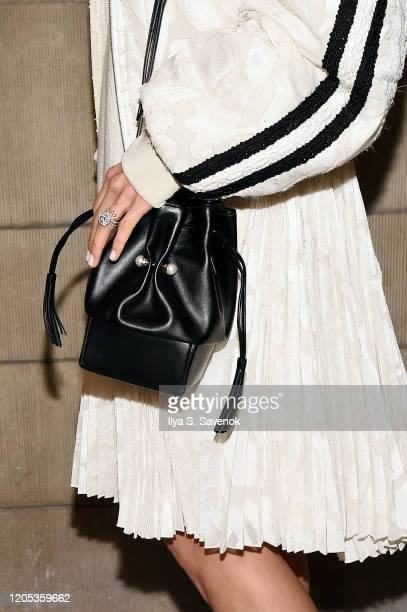 Jamie Chung bag detail attends the ADEAM Fall | Winter 2020 SHOW at the High Line Hotel on February 10 2020 in New York City