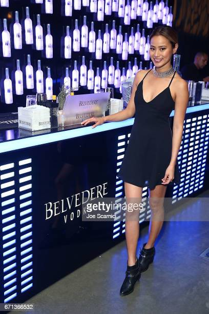Jamie Chung celebrates with Belvedere Vodka at 'Belvedere x Noisey Behind The Scene' during Coachella at the Ace Hotel on April 21 2017 in Palm...