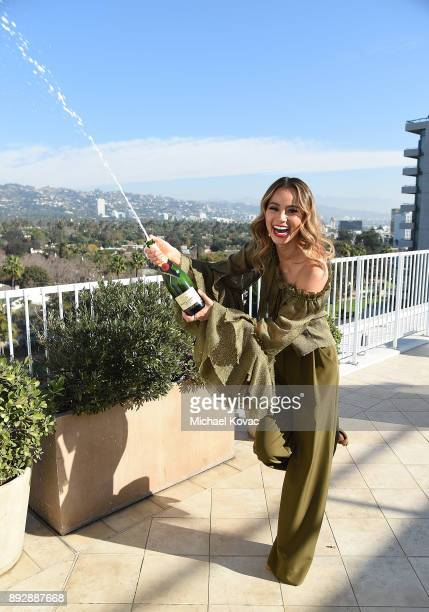 Jamie Chung celebrates with Moet Chandon Imperial at 75th Golden Globe Awards Show Menu Unveiling at The Beverly Hilton Hotel on December 14 2017 in...