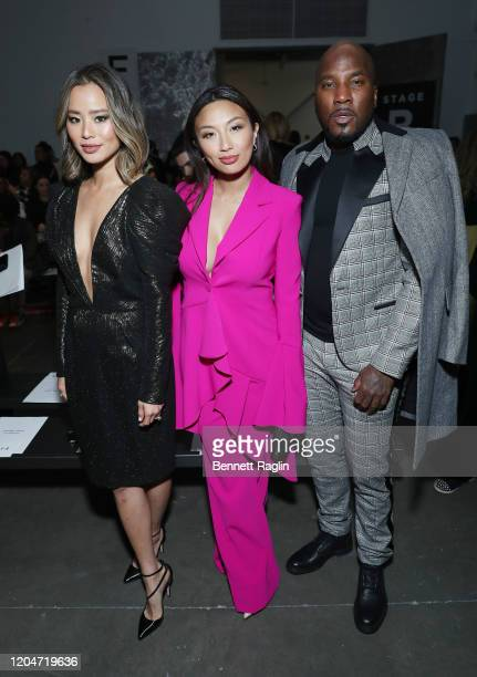 Jamie Chung, Jeannie Mai, and Jeezy attend the Pamella Roland fashion show at Pier 59 Studios on February 07, 2020 in New York City.