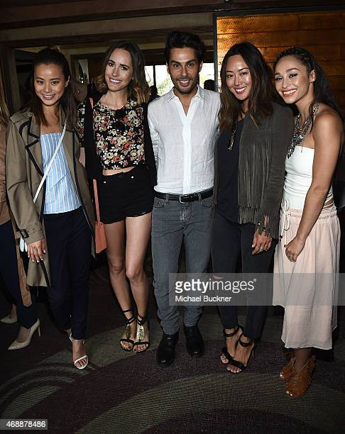Jamie Chung, Louise Roe, Joey Maalouf, Aimee Song and Cara Santana attend The Glam App's Glamchella at the Petit Ermitage on April 7, 2015 in Los...