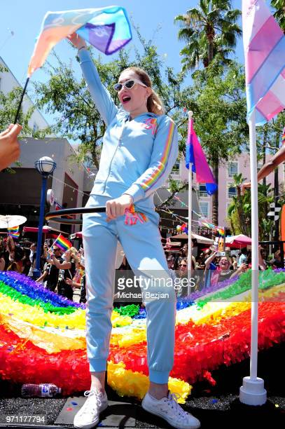 Jamie Clayton is seen on the Netflix original series Sense8 float at the Los Angeles Pride Parade on June 10 2018 in West Hollywood California