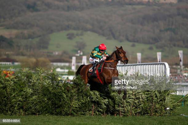 Jamie Codd riding Cause Of Causes clear the last to win The Glenfarclas Steeple Chase at Cheltenham racecourse on day two of the festival meeting on...