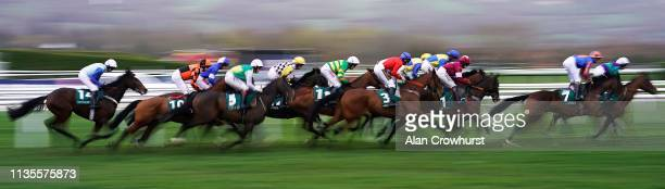 Jamie Codd riding Envoi Allen on their way to winning The Weatherbys Champion Bumper at Cheltenham Racecourse on March 13, 2019 in Cheltenham,...