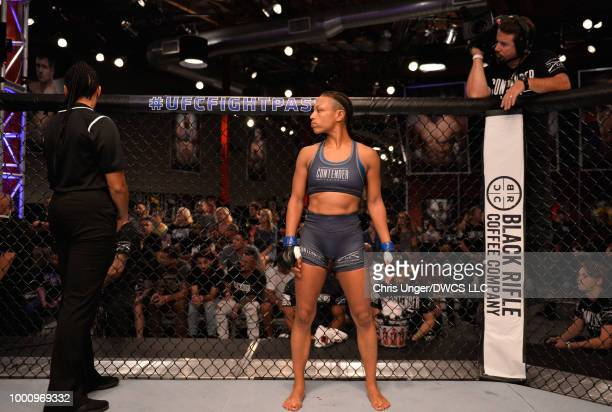 Jamie Colleen enters the cage before facing Maycee Barber in their womens strawweight fight during Dana White's Tuesday Night Contender Series at the...