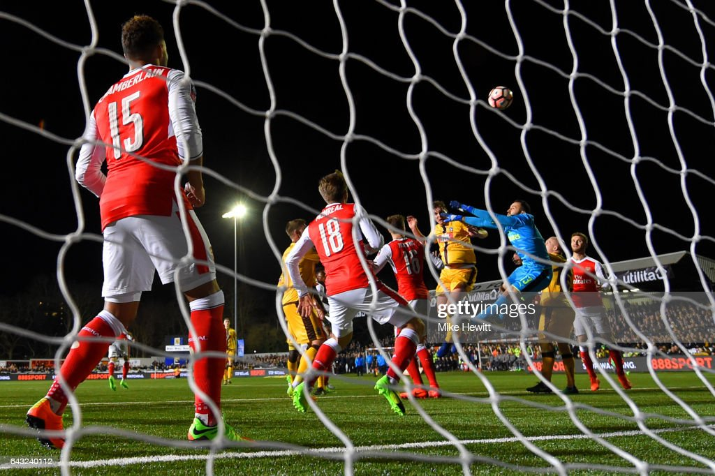 Jamie Collins of Sutton United heads the ball at goal during the Emirates FA Cup fifth round match between Sutton United and Arsenal on February 20, 2017 in Sutton, Greater London.