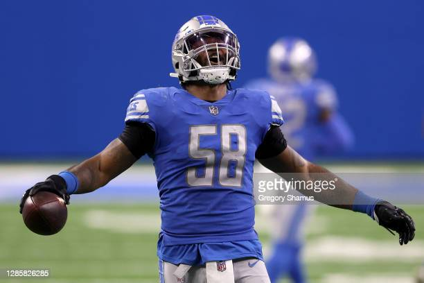 Jamie Collins of the Detroit Lions reacts following a fumble recovery in the second quarter during their game against the Washington Football Team at...