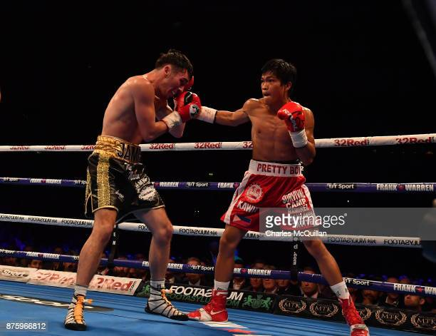 Jamie Conlan and Jerwin Ancajas during their IBF SuperFlyweight World Championship title fight on the Frampton Reborn boxing bill at SSE Arena...