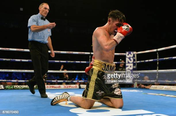 Jamie Conlan pictured after being defeated by Jerwin Ancajas following their IBF SuperFlyweight World Championship title fight on the Frampton Reborn...