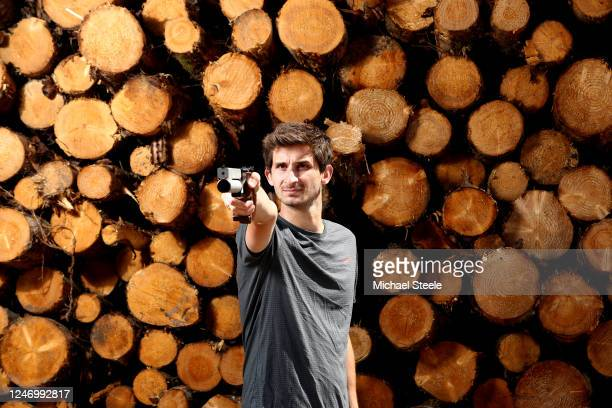 Jamie Cooke of Team GB Modern Pentathlon 2018 World Champion and 2019 European Champion demonstrates his shooting skills on June 05 2020 in Blagdon...