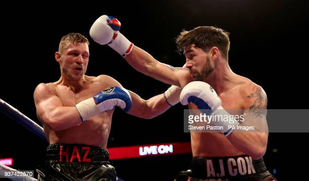 Jamie Cox against Harry Matthews in the SuperMiddleweight contest at the O2 Arena London