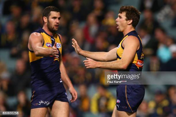 Jamie Cripps of the Eagles celebrates a ghoal with Jack Darling during the round 21 AFL match between the West Coast Eagles and the Carlton Blues at...