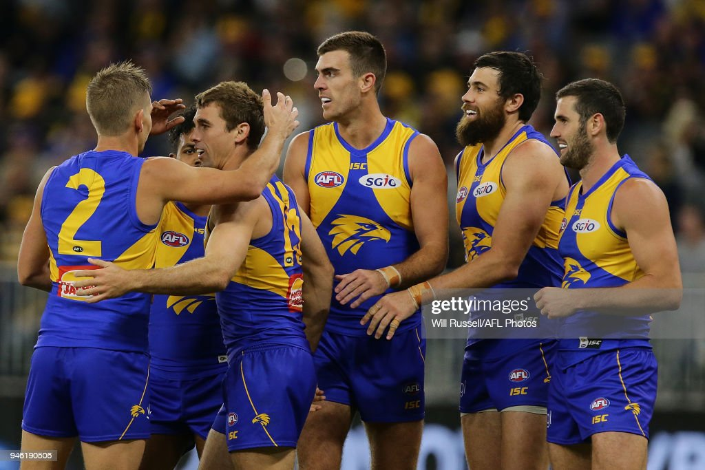 Jamie Cripps of the Eagles celebrates after scoring a goal during the round four AFL match between the West Coast Eagles and the Gold Coast Suns at Optus Stadium on April 14, 2018 in Perth, Australia.