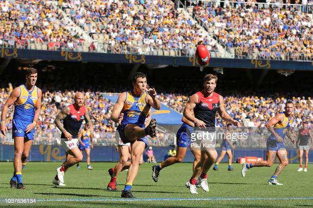 Jamie Cripps of the Eagles passes the ball during the AFL Preliminary Final match between the West Coast Eagles and the Melbourne Demons on September...