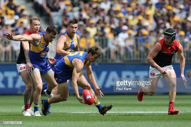 Jamie Cripps of the Eagles runs onto the ball during the AFL Prelimary Final match between the West Coast Eagles and the Melbourne Demons on...