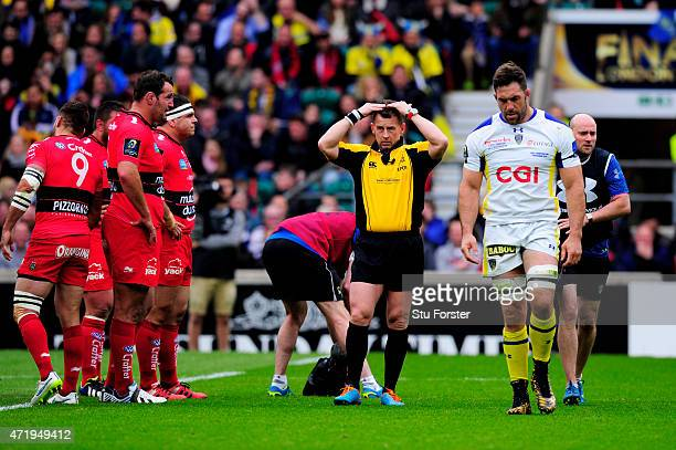 Jamie Cudmore of Clermont leaves the field early in the first half due to concussion during the European Rugby Champions Cup Final match between ASM...