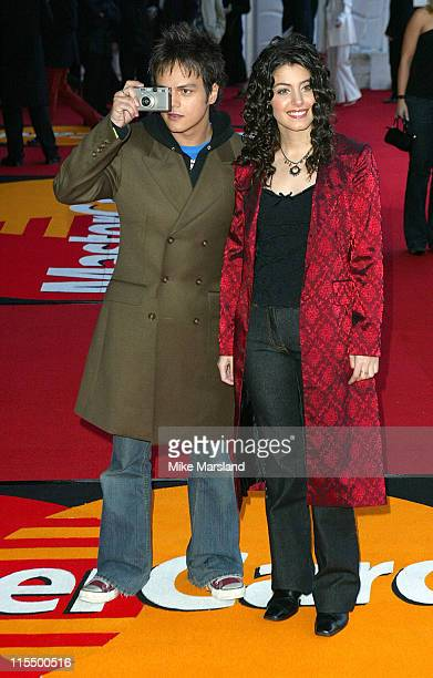 Jamie Cullum and Katie Melua during The 2004 Brit Awards Arrivals at Earls Court in London Great Britain