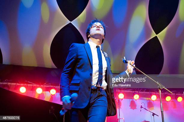 Jamie Cullum performs on stage as the opening headline act at the Big Top during Cheltenham Jazz Festival on April 30 2014 in Cheltenham United...
