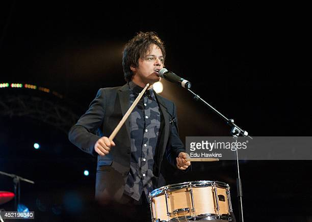 Jamie Cullum performs on stage at at Jazz A Juan on July 13 2014 in JuanlesPins France