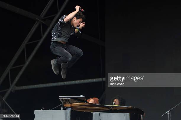 Jamie Cullum performs on the Pyramid Stage during day 4 of the Glastonbury Festival 2017 at Worthy Farm Pilton on June 25 2017 in Glastonbury England