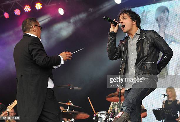 Jamie Cullum performs with Dan the Automator of Deltron 3030 on the West Holts stage during Day One of the Glastonbury Festival at Worthy Farm in...