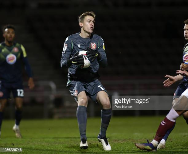 Jamie Cumming of Stevenage in action during the Papa John's Trophy match between Northampton Town and Stevenage at PTS Academy Stadium on November 17...