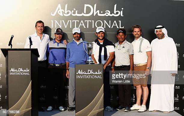 Jamie Cunningham CEO Founder Professional Sports Group poses with winners Felipe Aguilar of Chile Mohammed Al Farooq Alexander Levy of France...
