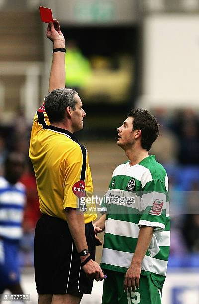 Jamie Cureton of QPR is sent off during the CocaCola Championship match between Reading and Queens Park Rangers at the Madejski Stadium on December...