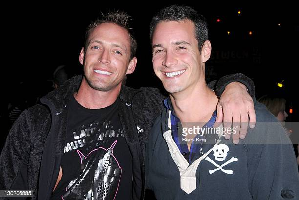 Jamie Dellinger and Frank Meli attend the 3rd annual Los Angeles Haunted Hayride VIP opening night at Griffith Park on October 9 2011 in Los Angeles...