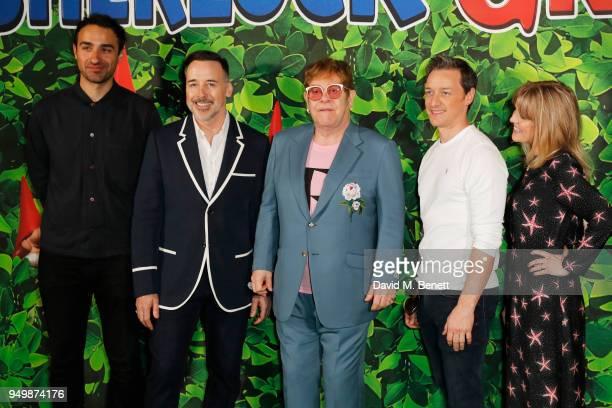 Jamie Demetriou David Furnish Sir Elton John James McAvoy and Ashley Jensen attend the Family Gala Screening of Sherlock Gnomes hosted by Sir Elton...