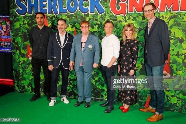 Jamie Demetriou David Furnish Sir Elton John James McAvoy Ashley Jensen and Stephen Merchant attend the Family Gala Screening of Sherlock Gnomes...