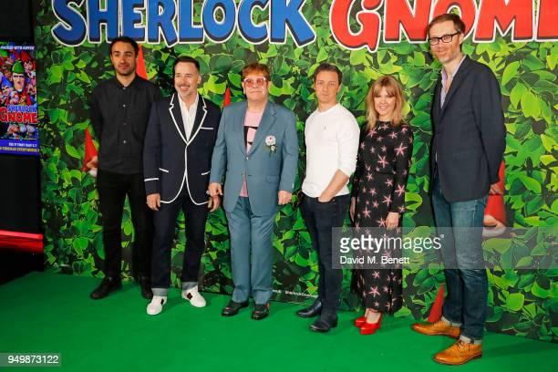 Jamie Demetriou David Furnish Sir Elton John James McAvoy Ashley Jensen and Stephen Merchant attend the Family Gala Screening of Sherlock Gnomes...