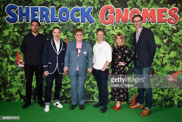 Jamie Demetriou David Furnish Sir Elton John James McAvoy Ashley Jensen and Stephen Merchant attend the 'Sherlock Gnomes' London Family Gala hosted...