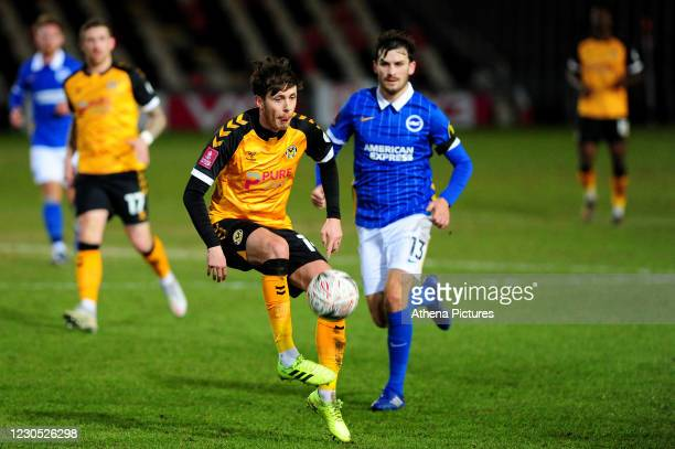 Jamie Devitt of Newport County in action during the FA Cup Third Round match between Newport County and Brighton And Hove Albion at Rodney Parade on...