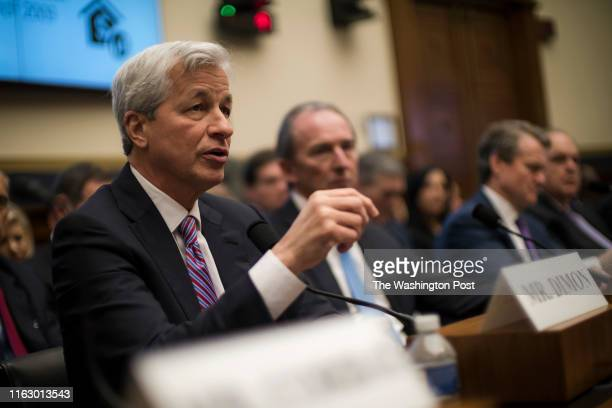 Jamie Dimon, Chair and CEO of JP Morgan Chase, testifies before the House Financial Services Commitee in Washington Wednesday April 10, 2019.