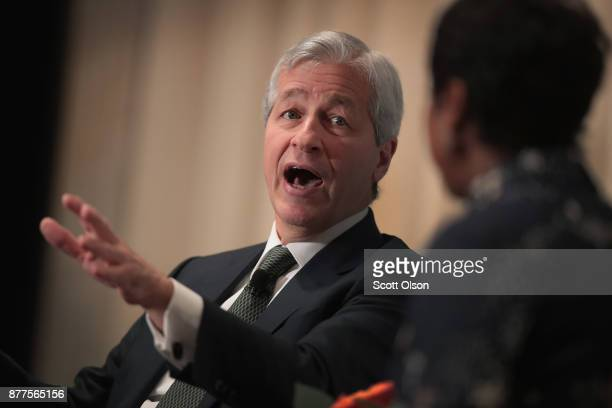 Jamie Dimon Chairman and CEO of JPMorgan Chase Co fields questions from Mellody Hobson president of Ariel Investments during a luncheon hosted by The...