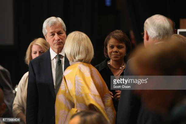 Jamie Dimon Chairman and CEO of JPMorgan Chase Co greets guests before speaking at a luncheon hosted by The Economic Club of Chicago on November 22...
