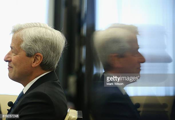 Jamie Dimon chairman and CEO of JPMorgan Chase Co participates in a discussion on Detroit's economic recovery on April 5 2016 in Washington DC...
