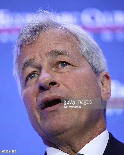 Jamie Dimon Chairman and CEO of JPMorgan Chase Co speaks at the Economic Club of Washington September 12 2016 in Washington DC Dimon joined a...