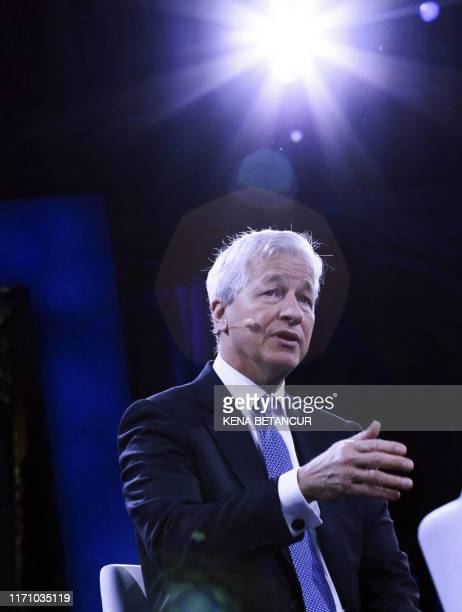 Jamie Dimon, Chairman & CEO of JP Morgan Chase & Co, speaks during the Bloomberg Global Business Forum in New York on September 25, 2019.