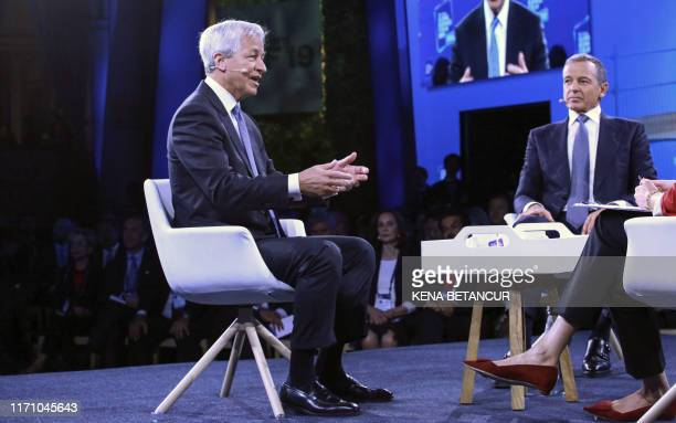 Jamie Dimon Chairman CEO of JP Morgan Chase Co speaks during the Bloomberg Global Business Forum in New York on September 25 2019