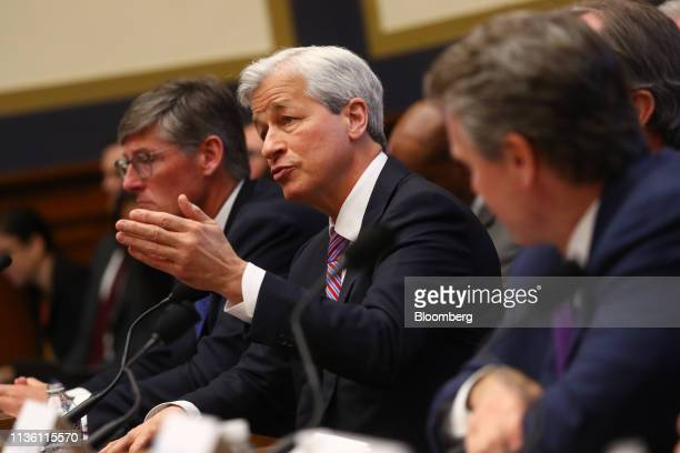 Jamie Dimon, chief executive officer of JPMorgan Chase & Co., center, speaks during a House Financial Services Committee hearing in Washington, D.C.,...