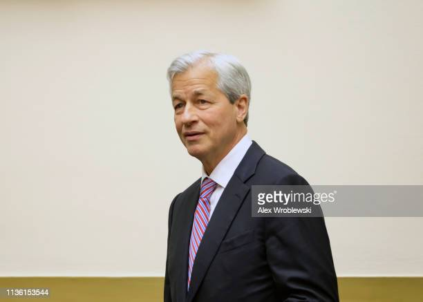 Jamie Dimon chief executive officer of JPMorgan Chase Co is seen before a House Financial Services Committee hearing on April 10 2019 in Washington...