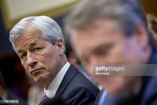 Jamie Dimon chief executive officer of JPMorgan Chase Co listens during a House Financial Services Committee hearing in Washington DC US on Wednesday...