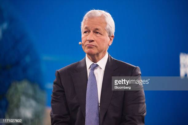Jamie Dimon chief executive officer of JPMorgan Chase Co listens during the Bloomberg Global Business Forum in New York US on Wednesday Sept 25 2019...
