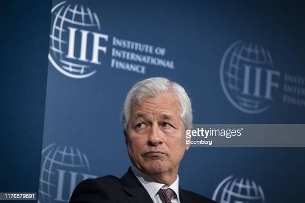 Jamie Dimon chief executive officer of JPMorgan Chase Co listens during the Institute of International Finance annual membership meeting in...