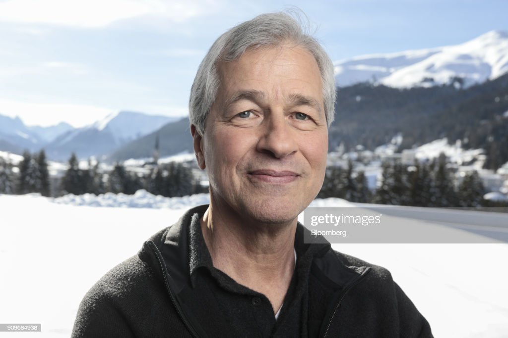 Jamie Dimon, chief executive officer of JPMorgan Chase & Co., poses for a photograph following a Bloomberg Television interview on day two of the World Economic Forum (WEF) in Davos, Switzerland, on Wednesday, Jan. 24, 2018. World leaders, influential executives, bankers and policy makers attend the 48th annual meeting of the World Economic Forum in Davos from Jan. 23 - 26. Photographer: Simon Dawson/Bloomberg via Getty Images
