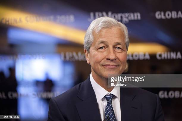 Jamie Dimon chief executive officer of JPMorgan Chase Co poses for a photograph ahead of a Bloomberg Television interview on the sidelines of the JP...