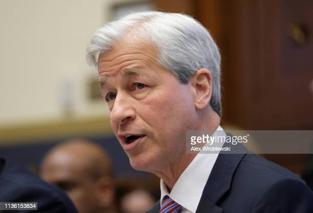 Jamie Dimon chief executive officer of JPMorgan Chase Co speaks during a House Financial Services Committee hearing on April 10 2019 in Washington DC...